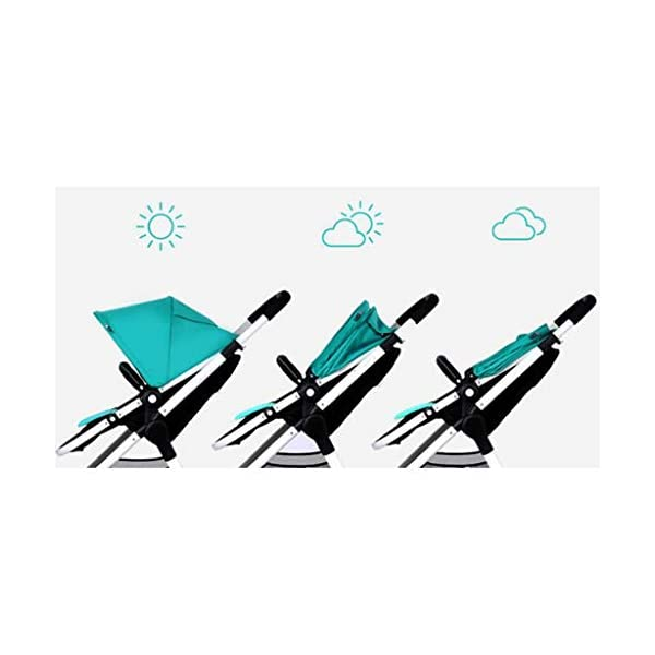 Comfortable prams Baby Stroller High Landscape Can Sit Horizontal Portable Folding Two-Way Shock Absorber Stroller Newborn Four Seasons Universal Travel (Color : Green) CAR 2. Adjustable awning, wide breathable, waterproof. 3. Adjustable pedals. 1. Stepless backrest adjustment, rotary button design. 5