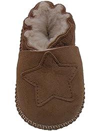 Plateau Tibet - VERITABLE laine d'agneau Bottines Chaussures Chaussons en cuir souple doublure pour bébé garçon fille enfant - 6 COULEURS - Étoile