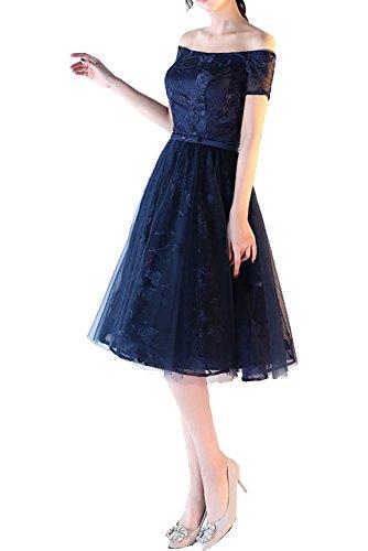 Charmant Damen Navy Blau Kurzarm Spitze Promkleider Cocktailkleider Abiballkleider Mini A-linie Tanzenkleider Navy Blau