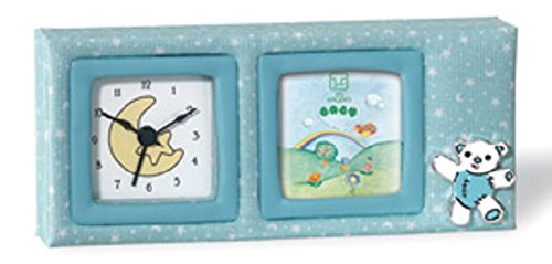 Silver Touch USA Picture Frame and Clock with Sterling Silver Bear, Blue by Silver Touch USA (Frames Usa)