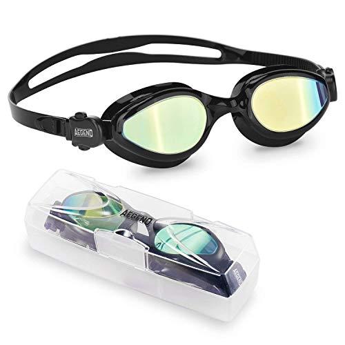 Aegend gespiegelt Schwimmbrille,Flüssigsilikon Schwimmbrille Keine undichte Anti Fog UV Schutz...