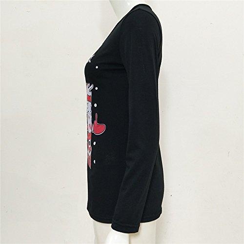 Gogofuture Maglietta Donna Eleganti Moda T-Shirt Stampa Albero Di Natale Manica Lunga Allentata Casuale Felpe Camicetta Classico Black2