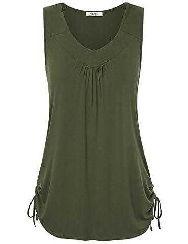 Ruched Tank Tops,Vivilli Women's Casual Sleeveless V Neck Cute Adjustable Drawstring Sides Shirring Blouse Shirt Army Green