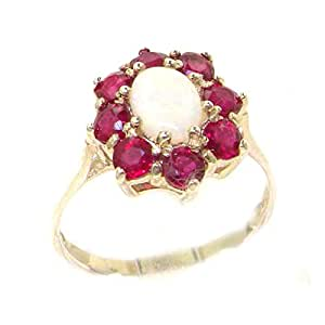 Luxury Solid Sterling Silver Natural Opal & Ruby Cluster Ring - Size K - Finger Sizes K to Z Available