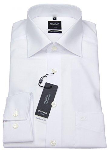 OLYMP Modern Fit Hemd extra langer Arm Popeline weiss AL 69 Gr. 47 - Ägyptische Baumwolle Shirt