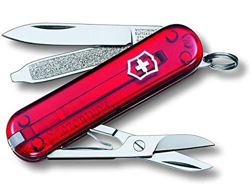 Victorinox Classic SD Taschenmesser, 7 Funktionen, Klinge, Schere, Nagelfeile, rot transparent - Handwerk Mädchen 11-jährige Für