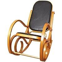 Mendler Rocking-Chair, Fauteuil à Bascule M41, Imitation Bois de chêne, Assise en Cuir Patchwork, Marron