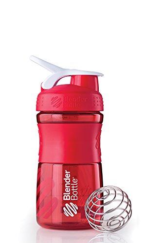 BlenderBottle Sportmixer Tritan Shaker | PRotein Shaker | Wasserflasche | Diät shaker (20oz / 590ml) - Rot Transparent - Blender Bottle Sport-mixer Rot