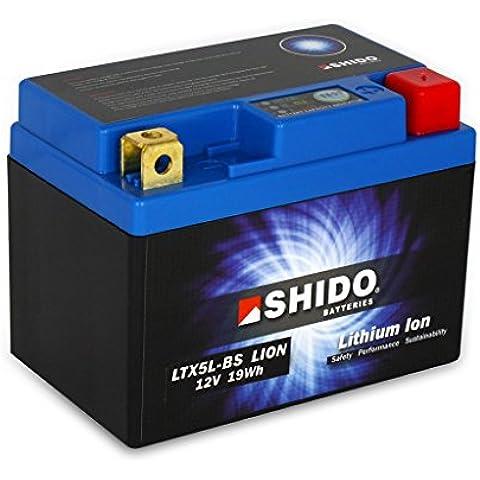 Batería 12V 1,6Ah (4Ah) ytx5l-BS, iones de litio shido DIN ready-led para Access Streak AC | Aprilia RS450TK | Aprilia Scarabeo 50SC | Aprilia Sr 50RLB–Morini Motor–LC–einspritzer | Aprilia Sr