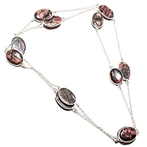 jewels paradise Collar con Colgante de rodonita Chapado en Plata de Ley 925 (SF-1491)