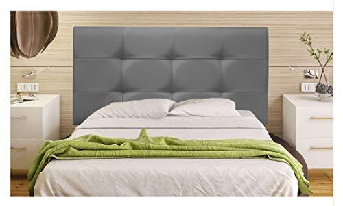 ONEK-DECCO Cabecero tapizado en Polipiel de Dormitorio Tennessee Medidas cabecero de Cama niño, Juvenil y Matrimonio Cabezal Blanco, tapizado, Acolchado (90x70, Gris)