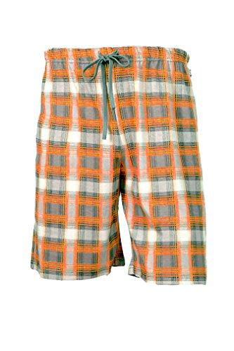 e.VIP® Herren Schlafanzughose Chris S 720 aus Reiner Weicher Baumwolle, in Farbe Orange Kariert, in Größe XXL -