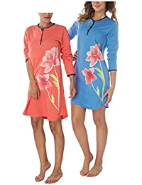 e8df032356d964 Consult-Tex Damen Langarm Nachthemd Reine Baumwolle 2 Stück Packung  Knopfleiste balu rot DF859