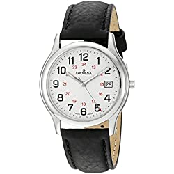 GROVANA 1207.1933 Men's Quartz Swiss Watch with White Dial Analogue Display and Black Leather Strap