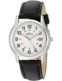 Grovana 1207.1933Herren Schweizer Uhr mit weißem Zifferblatt Analog-Anzeige Quarz und Schwarz Lederband