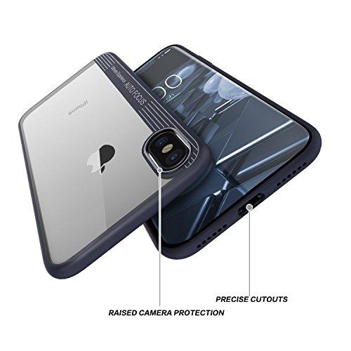 Custodia iPhone X, Basstop 2 in 1 TPU + PC Custodia protettiva traspirante antiurto per iPhone X(Nero) Navy Blue