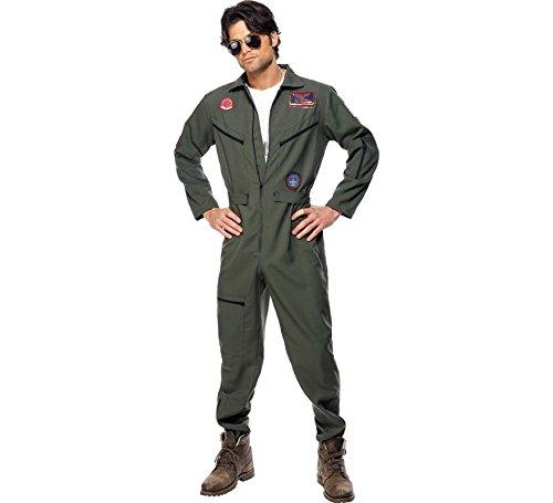 Disfraz Hombre AUTORIZADO Piloto Años 80 Top Gun Uniforme Despedida Soltero