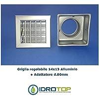 Bocchetta Aria cm14x13 Alluminio con Adattatore D.80-Griglia x Caminetto