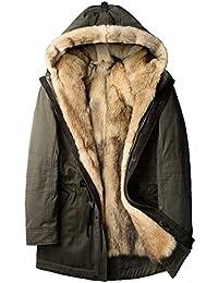 Hombres de Piel de Lobo Gruesos Chaqueta de Invierno Abrigos Largos Diseñador de Moda Viajes para