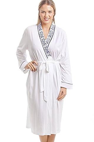Robe de chambre classique - motif floral bleu marine - blanc 42/44