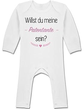 Strampler Motive - Willst du meine Patentante sein? - Langarm Baby-Strampler / Schlafanzug für Jungen und Mädchen