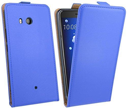 HTC U11 // Klapptasche Schutztasche Hülle Cover Case Etui in Blau Tasche Hülle @ cofi1453®