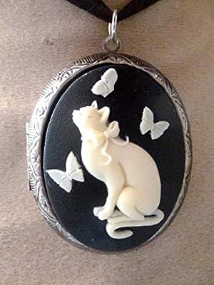 pendentif medaillon porte photo chat et papillons