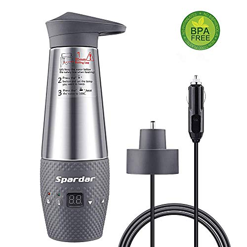 Uniox Bollitori elettrici d\'automobile per Auto per Accendisigari 12V, 120 Watt,Funziona automaticamente,Acciaio inossidabile (Gray)