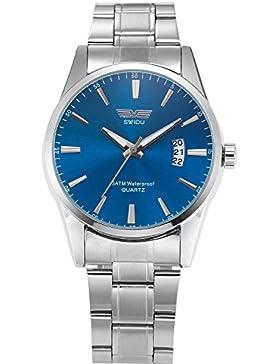 XLORDX Herren Uhr Datum Analog Quarzuhr Edelstahl Armbanduhr XMAS Geschenk Blau