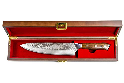 Stallion Damastmesser Ironwood Großes Chefmesser - 22cm Klinge aus Damaststahl mit Griff aus Eisenholz in Edler Geschenkbox