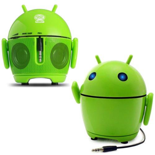 GOgroove PalBot - Altavoz Portátil Muñeco Android Recargable - Compatible con Apple iPhone 6, Plus, 5s/Sansung Galaxy S6, S5/Motorola Nuevo...