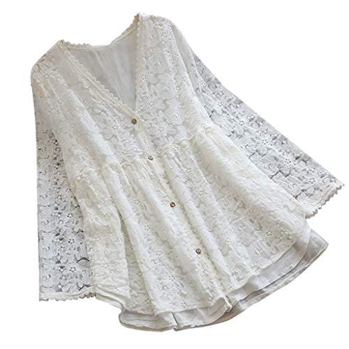 Zegeey Damen T-Shirt Bluse Vintage Rundhals Baumwolle Und Leinen Sommer LäSsige Knopfleiste Solide Tunika Pullover Oberteil Tops Shirts(E1-Weiß,EU-38/CN-M)