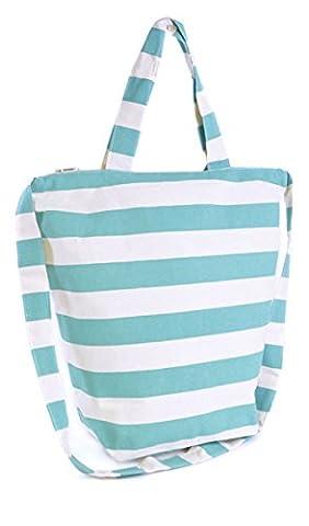 Womens Summer Striped Canvas Design Beach-Pool-Swim-Tote-Shopping Large Bag Aqua
