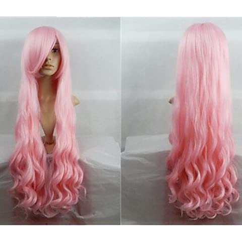 Pelucas de la manera conveniente y cómodo venta caliente de 40 pulgadas de fibra de alta temperatura de largo rizado cosplay melocotón rosado Bang lado peluca de vestuario