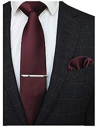 JEMYGINS Cravate Homme Sergé en Soie et Pinces à cravate & Carre de poche Set