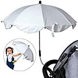 Urijk Kinderwagen Schirm Sonnenschirm Regenschirm für Kinderwagen Buggy UV Schutz Schirm mit flexiblen Schwanenhals Hand Sonnensegel Sonnenschutz (Schirmdurchmesser 65cm Schirmlänge 51cm)