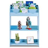 JINKAKA Children Bookcase Kids Toy Storage Shelf Book Rack Multicolor Playroom Bookshelf Organizer 3-Tier