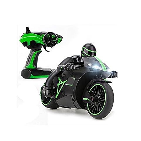 Hugine 4CH RC moto 2.4G vitesse rapide 1:18 télécommande moto avec LED phares rechargeable voiture électrique jouet voiture (Vert)