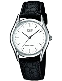 Casio Men's Quartz Watch with White Dial Analogue - Digital Display and Black Leather Strap MTP1154PE-7AEF