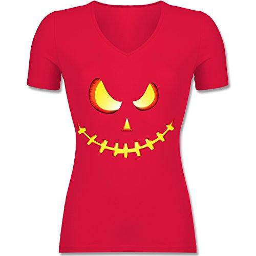 Shirtracer Halloween - Gruseliges Kürbis-Gesicht - Tailliertes T-Shirt mit V-Ausschnitt für Frauen Rot