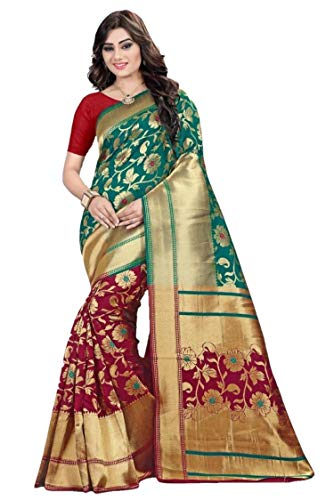 RAJ SHREE FASHION Banarasi Seide Saree indische Hochzeit ethnischen Sari & Unstitch Bluse Stück Sari De12 -