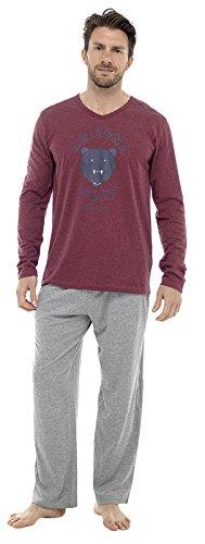 Aus 100% Jersey-Baumwolle, Langarm, lang, lange Hose Pyjama Nachtwäsche, Gr. S Red - Bears