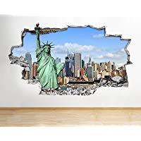 Estatua de la libertad Ciudad de Nueva York Skyline de Nueva York vinilo adhesivo para pared Muelen Arte 3d pegatinas (Tamaño Mediano) (52x 30cm)