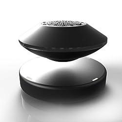 AUFODRAR Tragbare Kabellos Bluetooth Hifi Lautsprecher UFO Förmige Schwimmende 360 ° Drehendem Lautsprecher für Smartphones, Tablets, Laptops, PC (Schwarz)