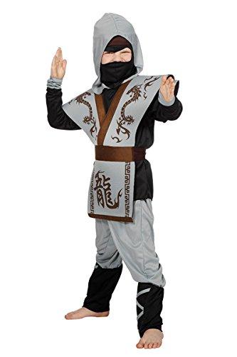 (Wilbers Ninjakostüm Set Ninja Kostüm Ninjas Asien Japan Karneval Grau Schwarz 104-164)