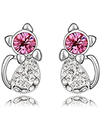 ufengke/® Austrian Crystal Cute Cat Stud Earrings White Gold Plated Girls Children Gift