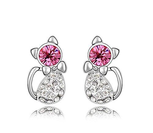 Ufengke® ragazze orecchini cute cat, realizzato con cristallo austriaco, placcato oro bianco, bel regalo per le ragazze e bambini, rose rosse