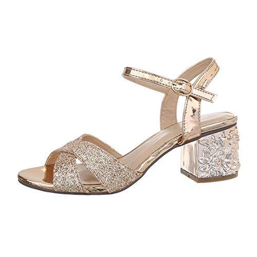Ital-Design Damenschuhe Sandalen & Sandaletten High Heel Sandaletten Synthetik Gold Rosa Gr. 40