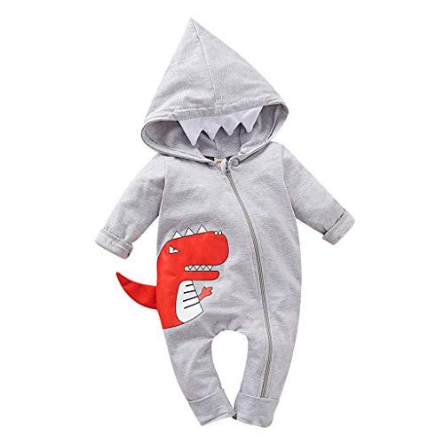Babybekleidung Kleinkind Kind Baby Junge Outfits Kleidung Karikatur-Druck T-Shirt Tops Shorts Pants Hosen Cartoon Dinosaurier Streifen Stück Bekleidungssets Babyanzug (Alter: 0-6 Monate, Grau)