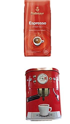 Dallmayr Espresso Intenso Bohnen, 1er Pack (1 x 1 kg) + Kaffeedose neu 3 D Design rot